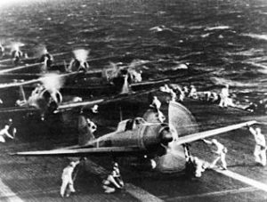 A6M2 Type 21 Zeroes on the carrier Shokaku preparing to attack Pearl Harbor.