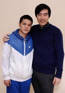 Yung Chang with Qi Moxiang, the boxer at the center of China Heavyweight at Sundance 2012.