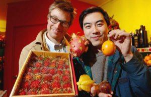 Yung Chang sampling fruit while making The Fruit Hunters.